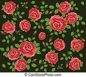 fiori, fondo, seamless