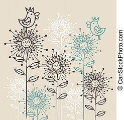 fiori, fondo, uccelli