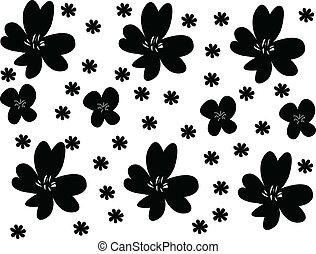 fiori, fondo, -, vettore