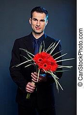 fiori, gerberas, uomo