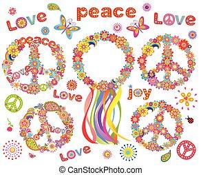 fiori, ghirlanda, hippie