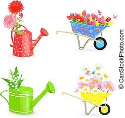 fiori, giardinaggio, equipme, collezione, mazzolini, fresco, bello