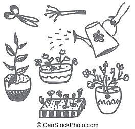fiori, giardinaggio, scarabocchiare, con, otri, lattine, e,...