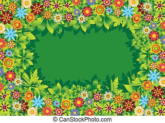 fiori, giardino, cornice, vettore