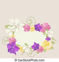 fiori, giardino, frame.