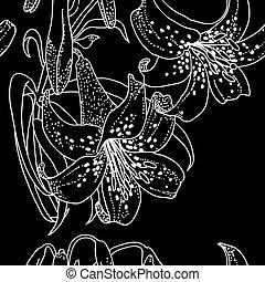 fiori, giglio, seamless, carta da parati
