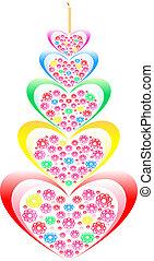 fiori, hearts., forma