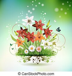 fiori, in, il, erba