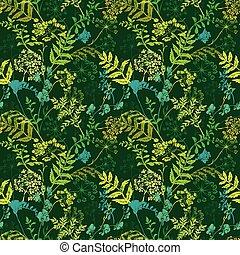 fiori, modello, seamless, fondo., silhouette, verde, erba selvaggia