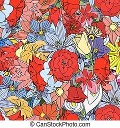 fiori, modello, seamless