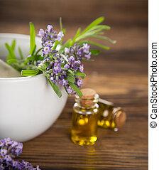fiori, olio lavanda, essenziale