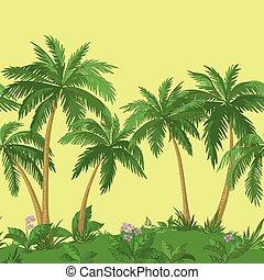 fiori, palma, seamless, albero