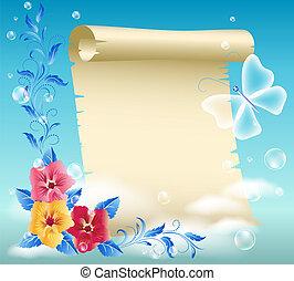 fiori, pergamena