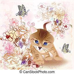 fiori, poco, tabby, augurio, acquarello, farfalle, compleanno, retro, gattino, style., scheda