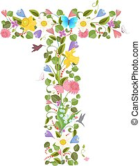fiori, primavera, ornare, lettera, capitale, font, ...