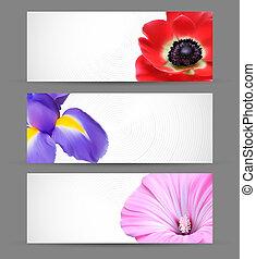 fiori primaverili, fondo, disegno, per, bandiera, opuscoli, o, web, intestazioni, sagoma, disposizioni
