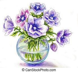 fiori primaverili, in, vaso, acquarello, illustrazione