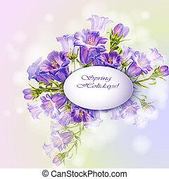 fiori primaverili, invito, sagoma