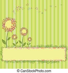fiori primaverili, verde, striscia gialla