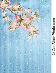 fiori primaverili, vettore, pioggia