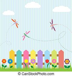 fiori, recinto, colorito, libellule