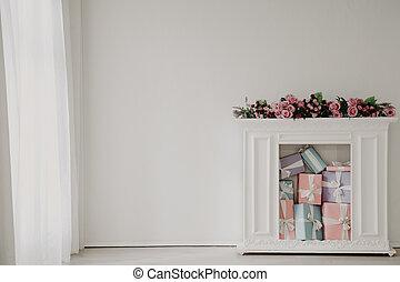 fiori, regali, caminetto, bianco, interno, stanza