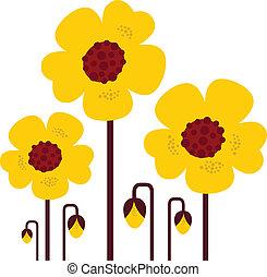 fiori retro, -, isolato, vettore, collezione, giallo, bianco