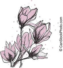 fiori retro, vettore, illustrazione