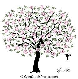 fiori, rosa, albero
