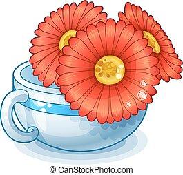 fiori rossi, in, tazza, isolato, bianco, fondo