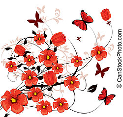 fiori, rosso