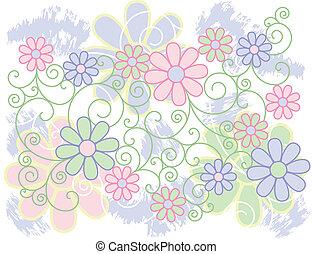 fiori, rotoli, fondo