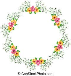fiori, rotondo, cornice