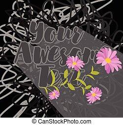 fiori, scarabocchio, isolato, fondo
