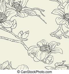 fiori, seamless, carta da parati, orchidea