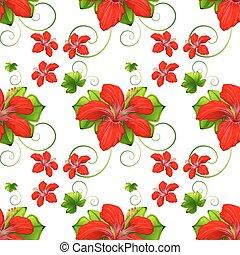 fiori, seamless, fondo, rosso