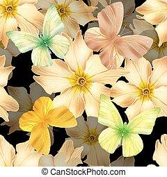 fiori, seamless, oro