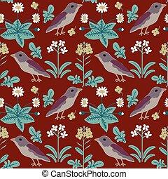 fiori, seamless, uccelli