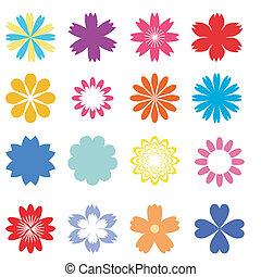 fiori, set, bianco