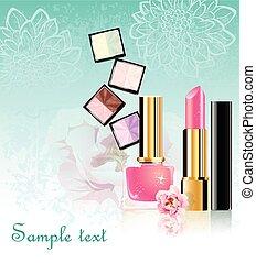 fiori, set, cosmetica