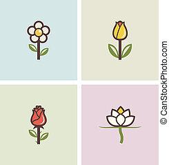fiori, set, icone