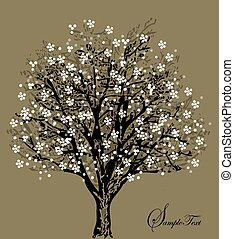 fiori, silhouette, albero, bianco