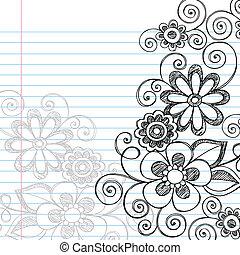 fiori, sketchy, doodles, vettore