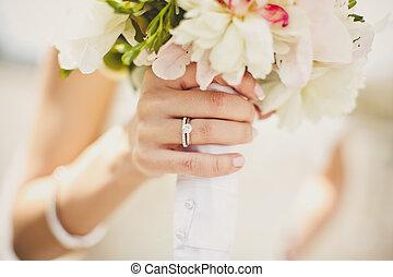 fiori, sposa, mani