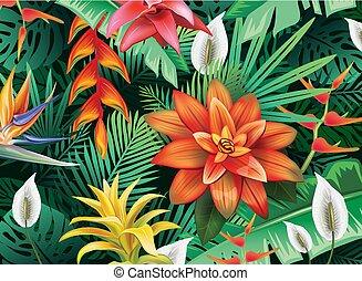 fiori tropicali, fondo