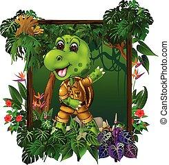 fiori tropicali, giungla, tartaruga, piante, verde, cartone animato