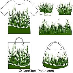 fiori, verde, set, erba