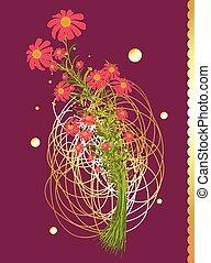 fiori, vettore, isolato, mazzo