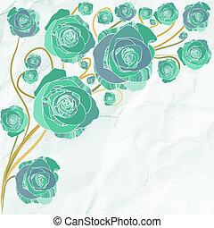 fiori, vettore, retro, illustrazione