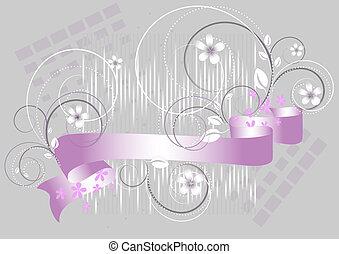 fiori, viola, grigio, nastro
